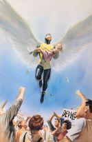 Anjo salva pequena mutante de multidão em Marvels por Alex Ross