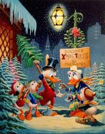 Tela de Carl Barks com o tema de Natal