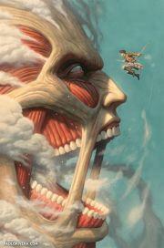 O Titã Colossal em combate